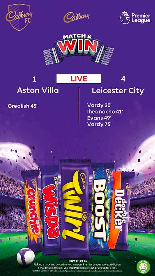 Cadbury Match & Win D6 poster - live scores Dynamic